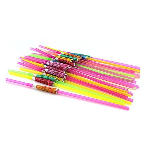 PYD 100pcs Disposable Drinking Straw Funny Umbrella Design Drink Straws for Island Themed Party Bars Restaurants Supplies Birthday Wedding Decorations