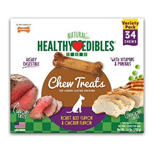 Nylabone Healthy Edibles Natural Dog Treats, Extra-Small Dog Chews, 34 Pack (Edible Dog Treats)
