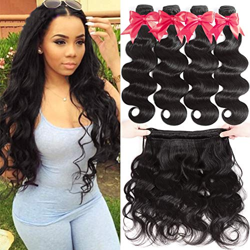 Flady 10A Brazilian Virgin Hair Body Wave 4 Bundles 100% Unprocessed Virgn Human Hair Weave Brazilian Body Wave Bundles Natural Color (16 18 20 22inch) (18 20 22 Inch Brazilian Body Wave)