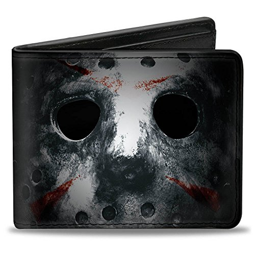 Buckle-Down Men's Wallet Jason Mask3 Close-up + Friday The 13th Black/grays/re Accessory, -Multi, One Size