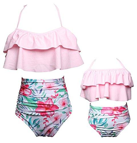 KABETY Girls Swimsuit Two Pieces Bikini Set Ruffle Falbala Swimwear Bathing Suits (Pink, Mom ()