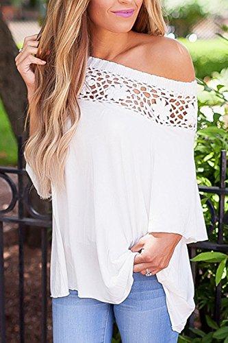 Camiseta De Mujer De Encaje De Un Hombro Tops Verano Patchwork White