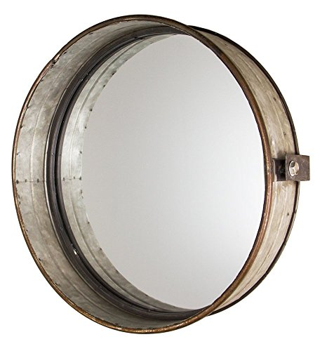 Industrial Chic Drum Mirror in Rustic Galvanized Finish | Home Wall Art Decor