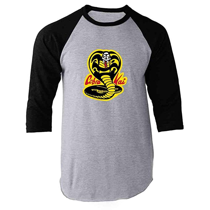 293063b97 Cobra Kai Karate Kid Dojo Retro Martial Arts Black S Raglan Baseball Tee  Shirt