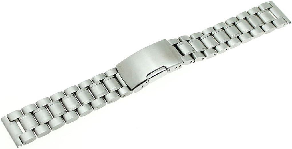 Bracelet de montre RECHERE en acier inoxydable à maillons solides et fermoir droit Silver