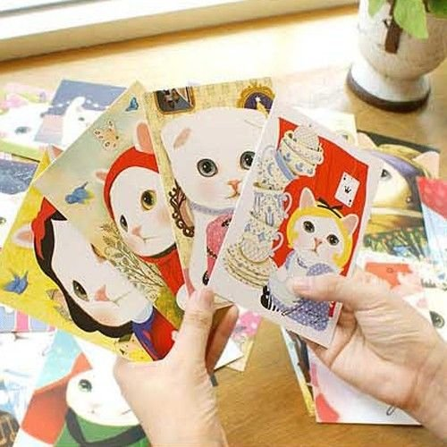 5pc Cute Cats Postcard Decorative Gift Cartoon Scrakpbooking Collage