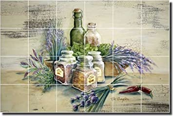 Kitchen Herbs Ceramic Tile Mural Backsplash 25 5 X 17 Spice Of Life By Rita Broughton Kitchen Decor Amazon Com
