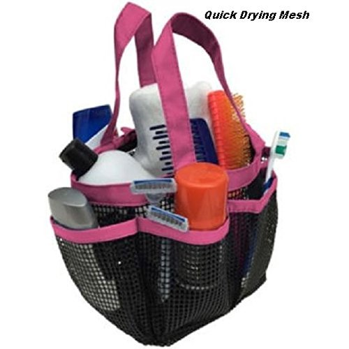 Hanging Toiletry and Bath Organizer Shower Caddie Tote with Pockets Quick Dry College Travel Home Pink
