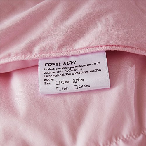 Topsleepy LUXURIOUS All Size 75% Goose Down Comforter ,1200TC 100% Cotton Shell Down Proof 750 Fill Power, 50 Oz Fill Weight ,LIGHT PINK Color,Hypo-allergenic (California King Size) by Topsleepy (Image #4)'