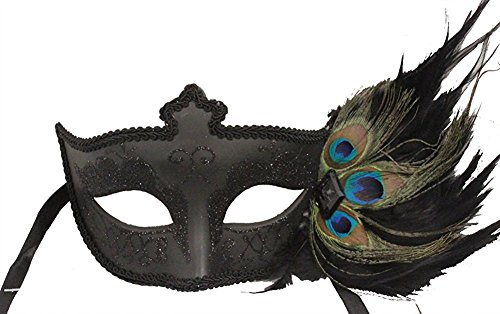 (Hagora, Women's Royal Elegance Black Tone And Sparkly Mask With Peacock Feathers,Black One Size fits)