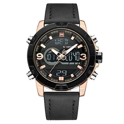 NAVIFORCE Men's Luxury Analog Digital Wristwatch Black Leather Strap Waterproof Quartz Watch ...