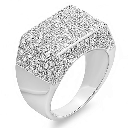 0.50 CT Sterling Silver Fancy Design Round Diamond Men's Flashy Hip Hop Iced Pinky Ring by DazzlingRock Collection