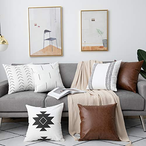 DEZENE 6 Pack Decorative Throw Pillow Covers for Sofa Couch Bed, 18 x 18 Inch 100% Cotton Modern Geometric White Cushion Covers and Faux Leather Square Pillow-Cases (Black and Brown) (Covers Decorative Sofa)