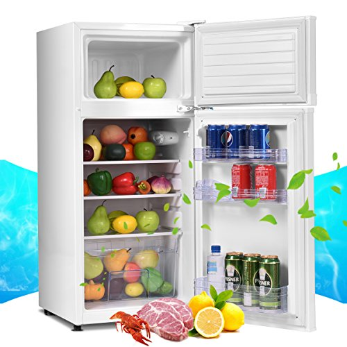 COSTWAY Mini Refrigerator, 2-Door 3.4 cu. ft. Small Compact Under Counter Refrigerator Fridge Freezer Cooler Unit for Dorm, Office, Apartment with Adjustable Removable Glass Shelves (White) by COSTWAY (Image #3)
