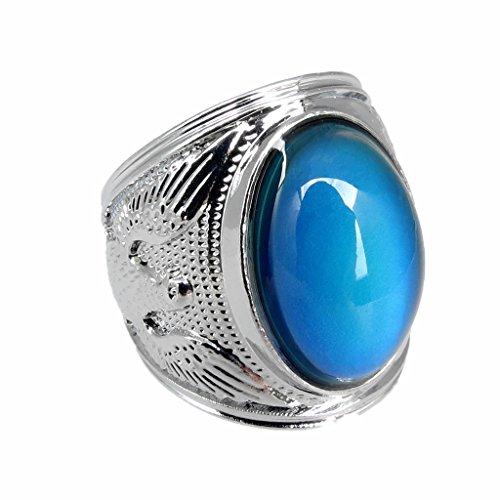 Fenteer Vintage Eagle Pattern Engraved Mood Ring Emotion Feeling Color Changing Gemstone Ring 20mm/21mm/22mm/23mm - 20mm