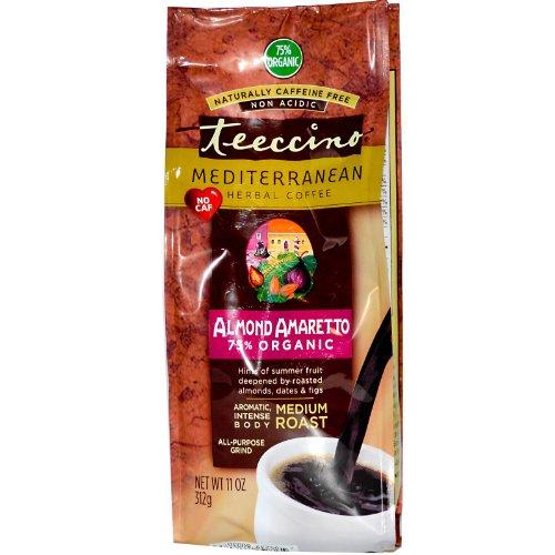 Teeccino Mediterranean Herbal Coffee - Medium Roast - Almond Amaretto - Caffeine Free - 11 Oz -Pack of (Teeccino Almond Amaretto Herbal Coffee)