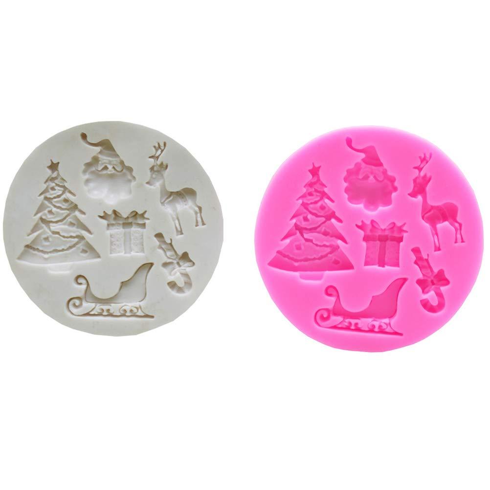 1Buy 2 Unids Navidad Santa Claus Elk Reno Sugarcraft Molde de Silicona Fondant Molde Herramientas de decoración de Pasteles de Chocolate Molde Gumpaste: ...