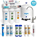 Express Water 5-Stage Under Sink Reverse Osmosis RO Drinking Water Filter System, 100 GPD, Brushed Nickel (Deluxe)