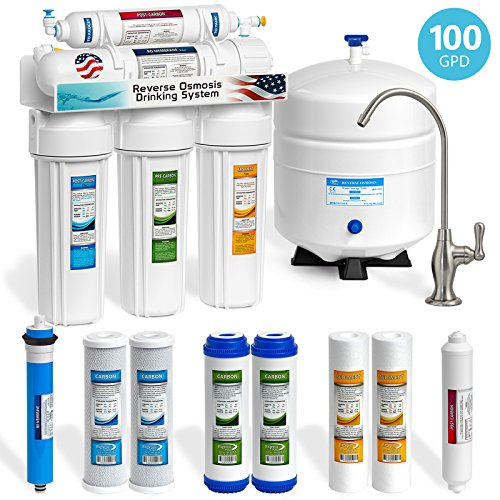 Express Water 5-Stage Under Sink Reverse Osmosis RO Drinking Water Filter System, 100 GPD, Brushed Nickel (Deluxe) by Express Water
