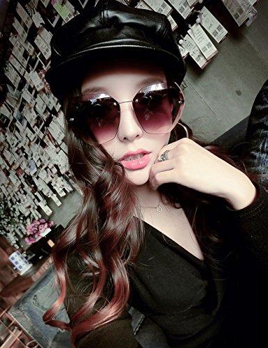Color Gafas Marco Sol de Gafas de Femeninas vidrios del Marrón Marrón los de Sol Brown Sunglasses poligonales de LVZAIXI graduales 58WcnO1FT