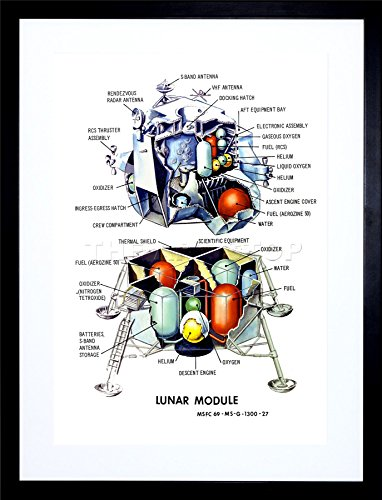 (Wee Blue Coo 9x7 '' Space 1968 Apollo Lunar Excursion Module New Framed Art Print F97X1070)