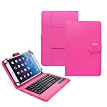 """Tsmine NeuTab G7 7"""" Tablet Bluetooth Keyboard Case - Universal 2-in-1 Detachable Wireless keyboard [QWERTY] w/ Folio Leather Case Stand Cover [NOT include Tablet], Hot Pink"""
