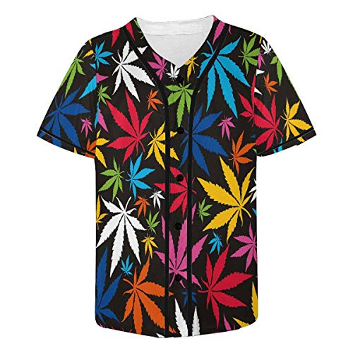 - INTERESTPRINT Men's Colorful Cannabis Leaves Button Down Baseball Jersey Active Shirts 4XL