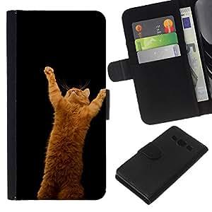 Protector de cuero de la PU de la cubierta del estilo de la carpeta del tirón BY RAYDREAMMM - Samsung Galaxy A3 - LINDO CAT DIVERTIDO DE NARANJA