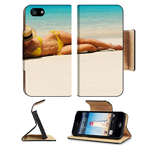 Liili Premium Apple iPhone 5 iphone 5S Flip Pu Leather Wallet Case Woman in bikini at tropical beach iPhone5 Photo 17303017 Simple Snap - Beach Hat Malaysia
