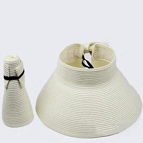 Spritech(TM) Fashion Girl Lady Beach Foldable Hat Wide Brim Roll-up Sun Visor Milk White