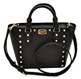 Michael Kors Sandrine Stud Small Crossbody Saffiano Leather Bag Handbag (Black)