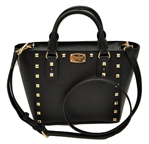 Michael Kors Sandrine Stud Small Crossbody Saffiano Leather Bag Handbag (Black) by Michael Kors