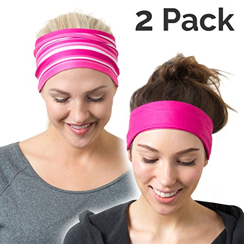 RiptGear Headband 2Pack - Pink Solid and Striped]()
