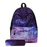 Muchengbao leisure light university travel backpack laptop bag school trip for boys and girls school star cloud edge schoolbag and a pencil bag (purple)