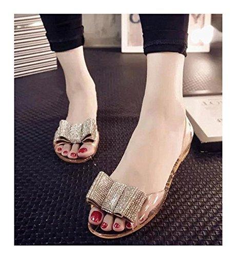 teachay Fashionable Women's 2016 Summer New Transparent Sandals Bow Flat Slippers Gold35 M EU / 5 B(M) US