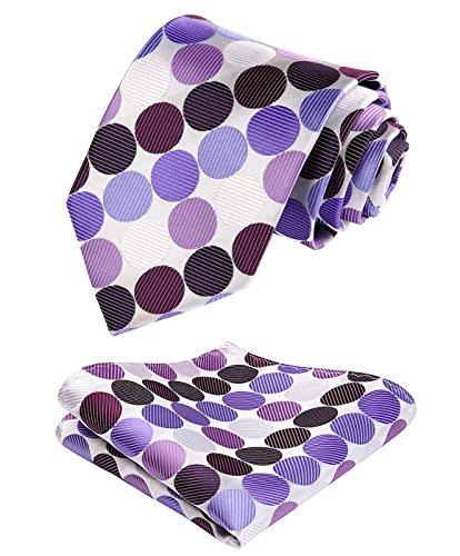 HISDERN Polka Dots Wedding Tie Handkerchief Woven Classic Mens Necktie & Pocket Square Set