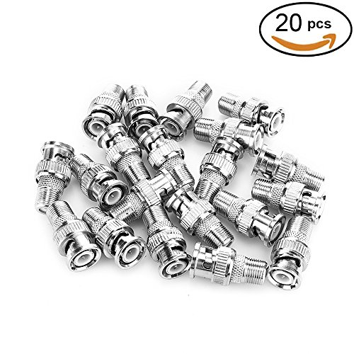 Coax F-type Plug (Pasow 20pcs BNC Male Plug to F Female Jack Adapter Coax Connector Coupler adapters CCTV Camera (20PCS))