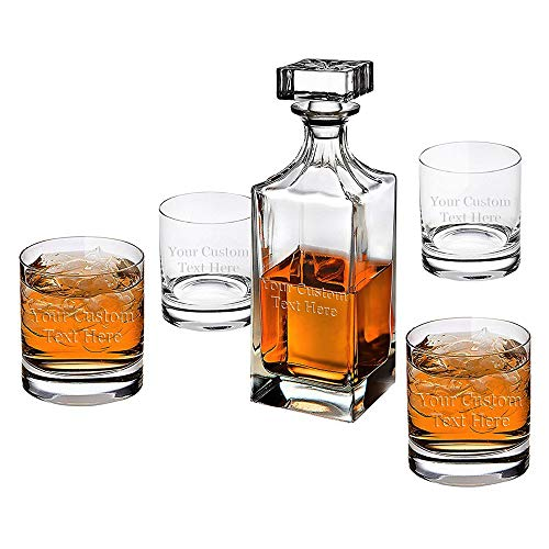 ANY TEXT, Custom Customized Engraved Whiskey Scotch Decanter Set of 4 Glasses 32oz Bottle and 10.5oz Glass - Personalized Laser Engraved Text Customizable Gift ()