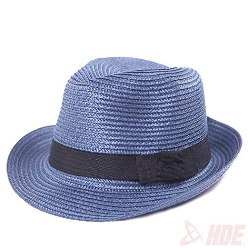 Patriots Clothes® Unisex Summer Beach Fedora Straw Panama Midnight Blue Hats Gangster Style