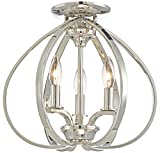 Minka Lavery Minka 4983-613 Transitional Three Light Semi Flush Mount from Tilbury Collection in Chrome, Pol. Nckl.Finish, 14.00 Inches 14.00 Inchesthree For Sale