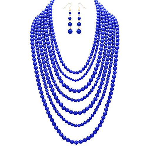 s Women's Fashion Jewelry Set Beaded Multi Strand Bib Necklace (Cobalt Blue) ()
