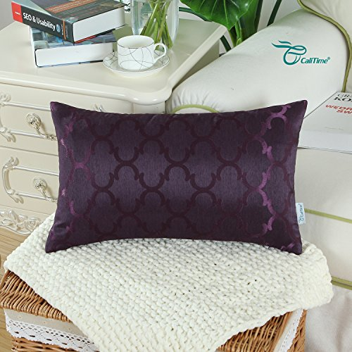 CaliTime Pack of 2 Cushion Covers Bolster Pillow Cases Shells for Home Sofa Couch, Modern Quatrefoil Accent Geometric, 12 X 20 Inches, Deep Purple