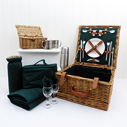 The Ashby Picnic Basket Set - Luxury Wicker 2 Person Fitted Hamper with Accessories, Traditional Green Picnic Blanket, Green Chiller Bag, & Stainless Steel Flask
