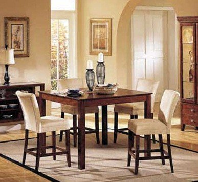 5pc Counter Height Dining Table & Stools Set Dark Brown Fini