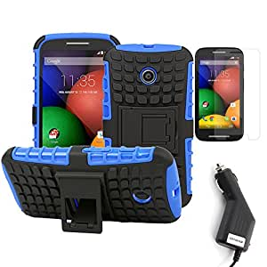 BIRUGEAR 4 Piece Combo for Motorola Moto E including Blue / Black Heavy Duty Dual Layer Grip Case with Kickstand + LCD Screen Protector Film Guard + Car Charger