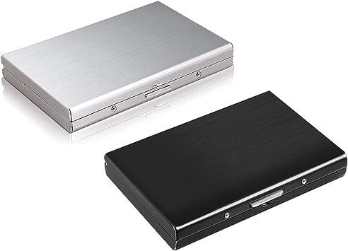 TLIYE - Caja de tarjetas de crédito de acero inoxidable negro y plateado, 2 unidades, con cierre RFID, para tarjetas de crédito, acero inoxidable, protección de datos ...