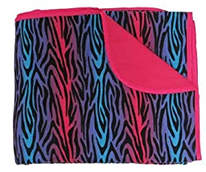 Zebra Party Blue Pink Stripes Novelty Print Flannel Premium Blanket or Throw by Touch of Europe
