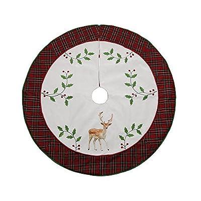 "Valery Madelyn 48"" Trendy Red Tartan Plaid Christmas Tree Skirt"