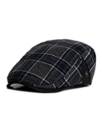 Anshili Men's Plaid Hat Wool Blend Ivy Cap Warm Beret (A)