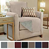 Gorilla Grip Original Slip-Resistant Furniture Protector, Suede-Like Material, Slip Reducing Backing, Two 2'' Thick Straps, Perfect for Kids, Dogs, Cats, Pets, Sofa, and Couch (Chair: Taupe)